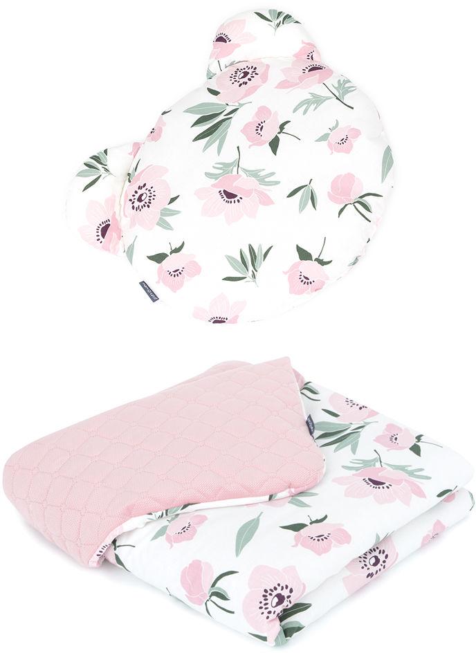MAMO-TATO Kocyk dla niemowląt z poduszką MIŚ - Kwiaty na ecru / różany