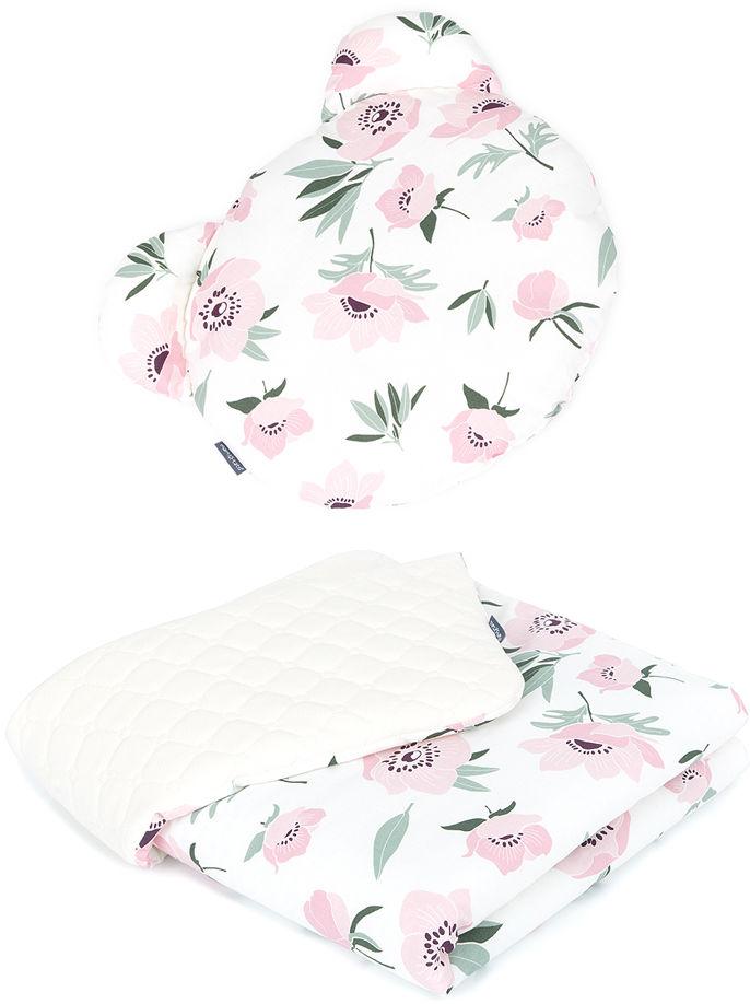 MAMO-TATO Kocyk dla niemowląt z poduszką MIŚ - Kwiaty na ecru / ecru
