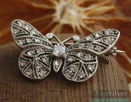 Motyl wysadzany cyrkoniami