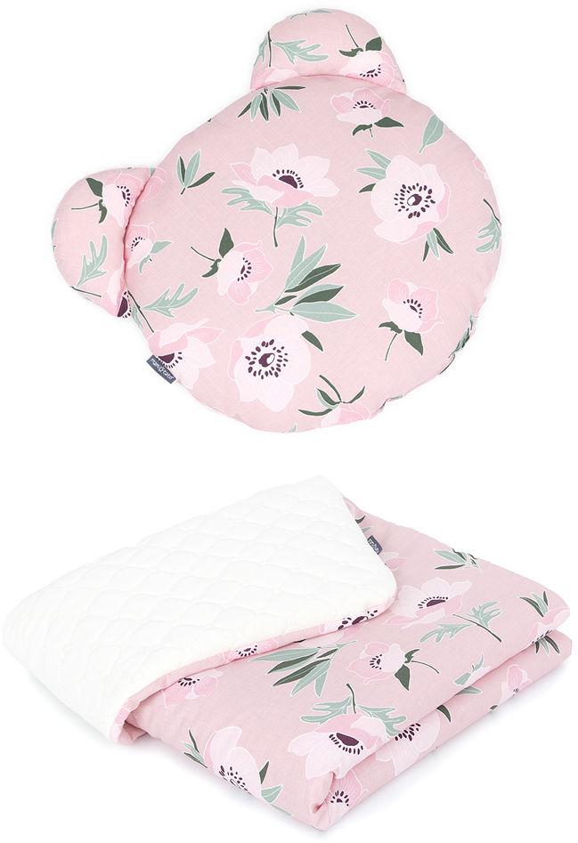 MAMO-TATO Kocyk dla niemowląt z poduszką MIŚ - Kwiaty na różanym / ecru
