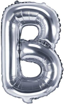 Balon foliowy w kształcie litery B, srebrny