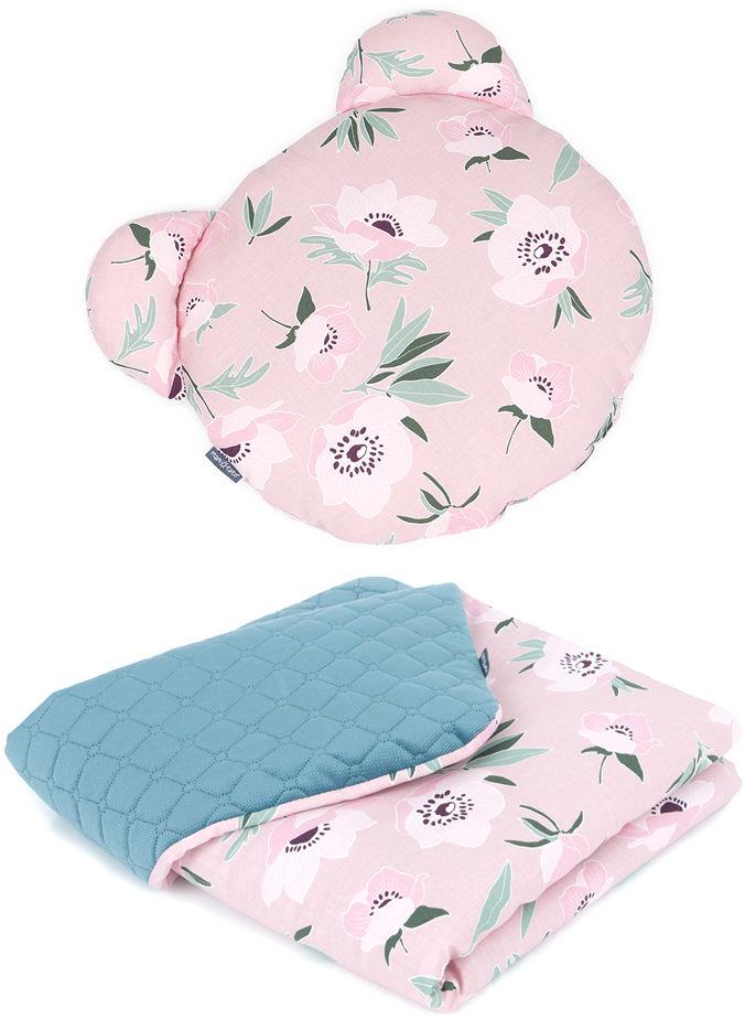 MAMO-TATO Kocyk dla niemowląt z poduszką MIŚ - Kwiaty na różanym / nepalska zieleń