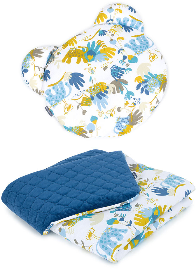 MAMO-TATO Kocyk dla niemowląt z poduszką MIŚ - Sawanna niebieska / granatowy