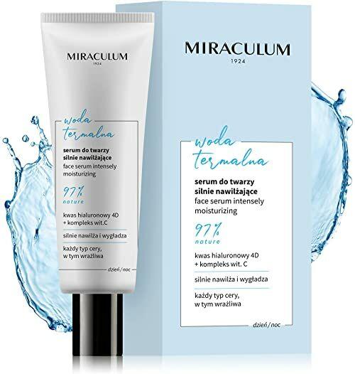 Miraculum Moisturizer serum do twarzy z kwasem hialuronowym i wodą termalną  regenerujące nawilżające serum  krem nawilżający do twarzy  serum wegańskie  30 ml