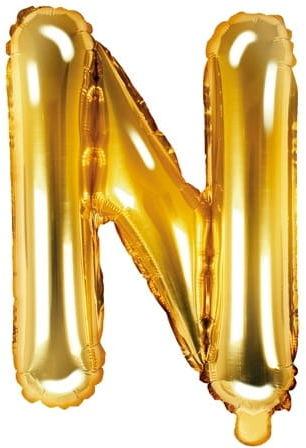 Balon foliowy w kształcie litery N, złoty