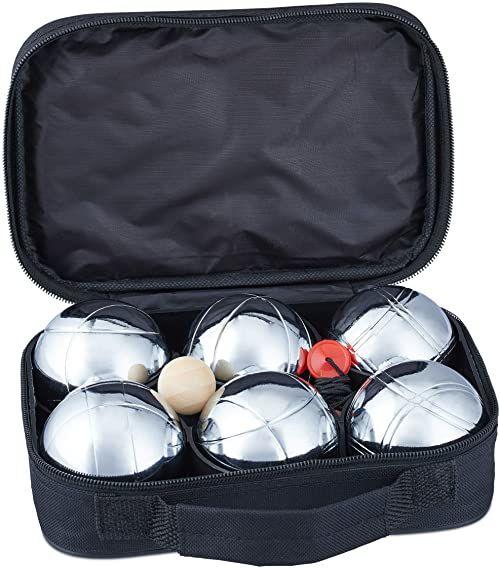Relaxdays Zestaw Boule, 6 kulek Boccia z metalu, kulka celownicza i miernik dystansowy, Petanque z torbą do przenoszenia, srebrny/czarny