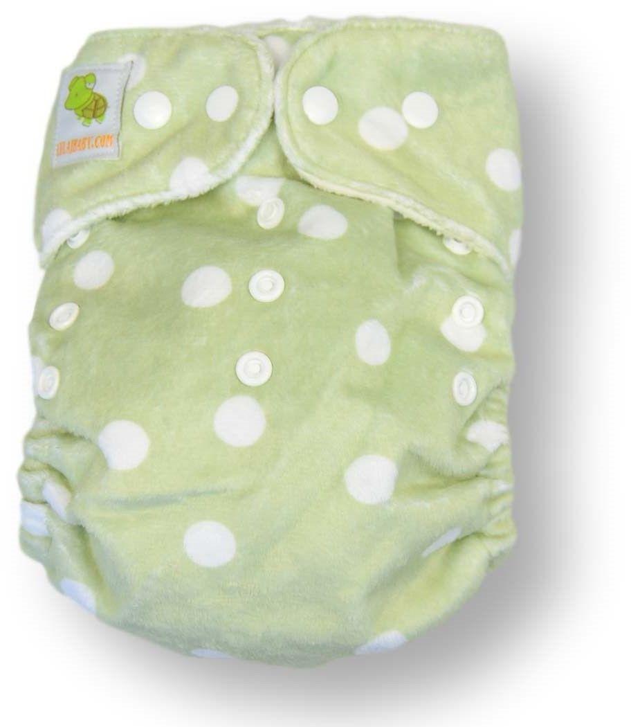 pieluszka wielorazowa MINKY zielona white dots