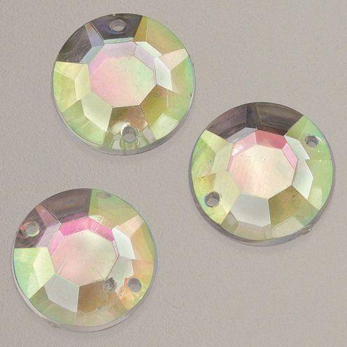 EFCO Kamień dekoracyjny akrylowy fasetowy 2 otwory kamień szlachetny 8 mm 150 szt. kryształ AB, 20 x 10 x 2 cm