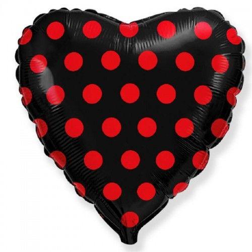 Balon foliowy Serce, czarny w czerwone groszki