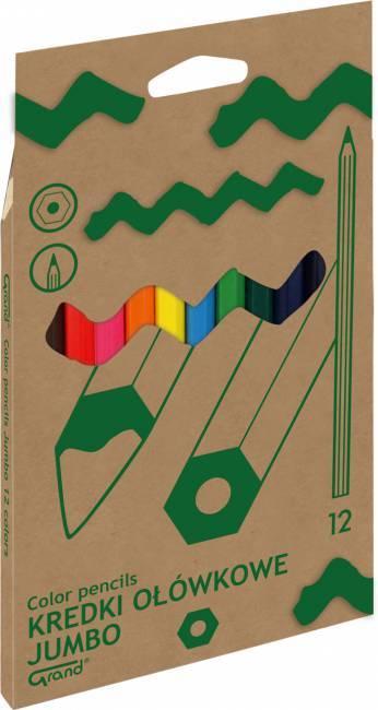Kredki ołówkowe JUMBO lakierowane 12 kolorów GRAND- X00670
