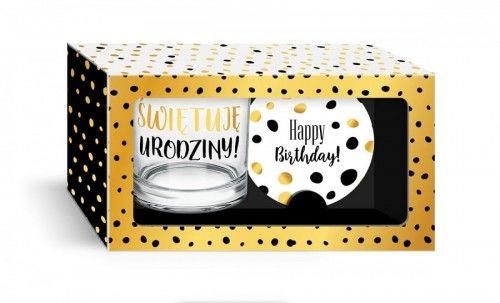 Szklanka z podkładką na urodziny, zestaw prezentowy
