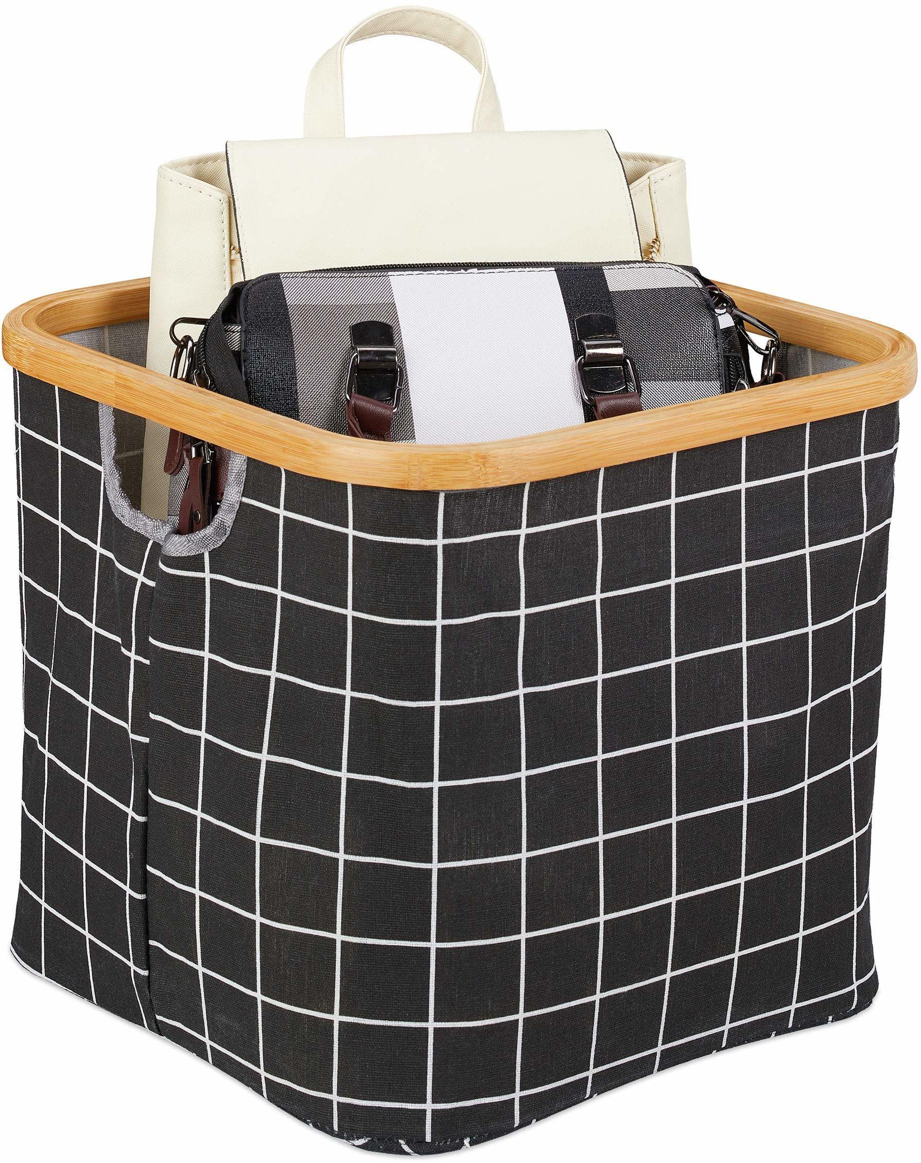 Relaxdays Pudełko do przechowywania, składane, kosz materiałowy z krawędzią bambusową i uchwytem, wys. x szer. x gł.: 30, 5 x 33,5 cm, kosz regałowy, czarny w kratkę, 5 x 33,5 x 33,5 cm