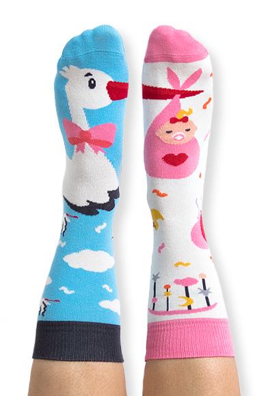 Skarpety kolorowe bocian i dziewczynka - Stork It s a girl