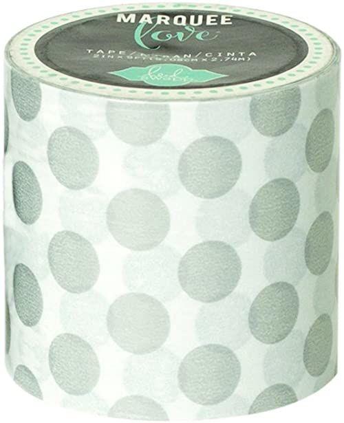American Crafts Heidi Swapp Marquee Love Washi Tape 5 cm srebrna folia groszki 23 cm, japoński papier, srebrna