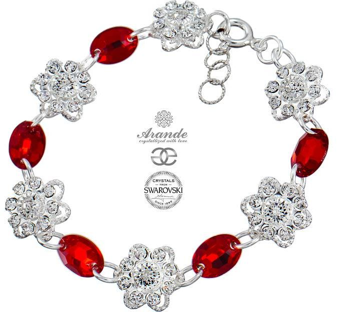 SWAROVSKI Bransoletka RED FEEL SREBRO