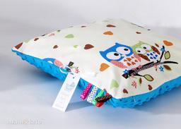 MAMO-TATO Poduszka Minky dwustronna 30x40 Sówki kremowe D / niebieski