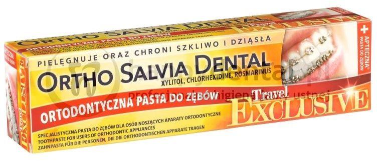 ORTHO SALVIA DENTAL Exclusive (Travel) 75ml - PASTA podróżna dla osób noszących aparaty ortodontyczne (żółta)