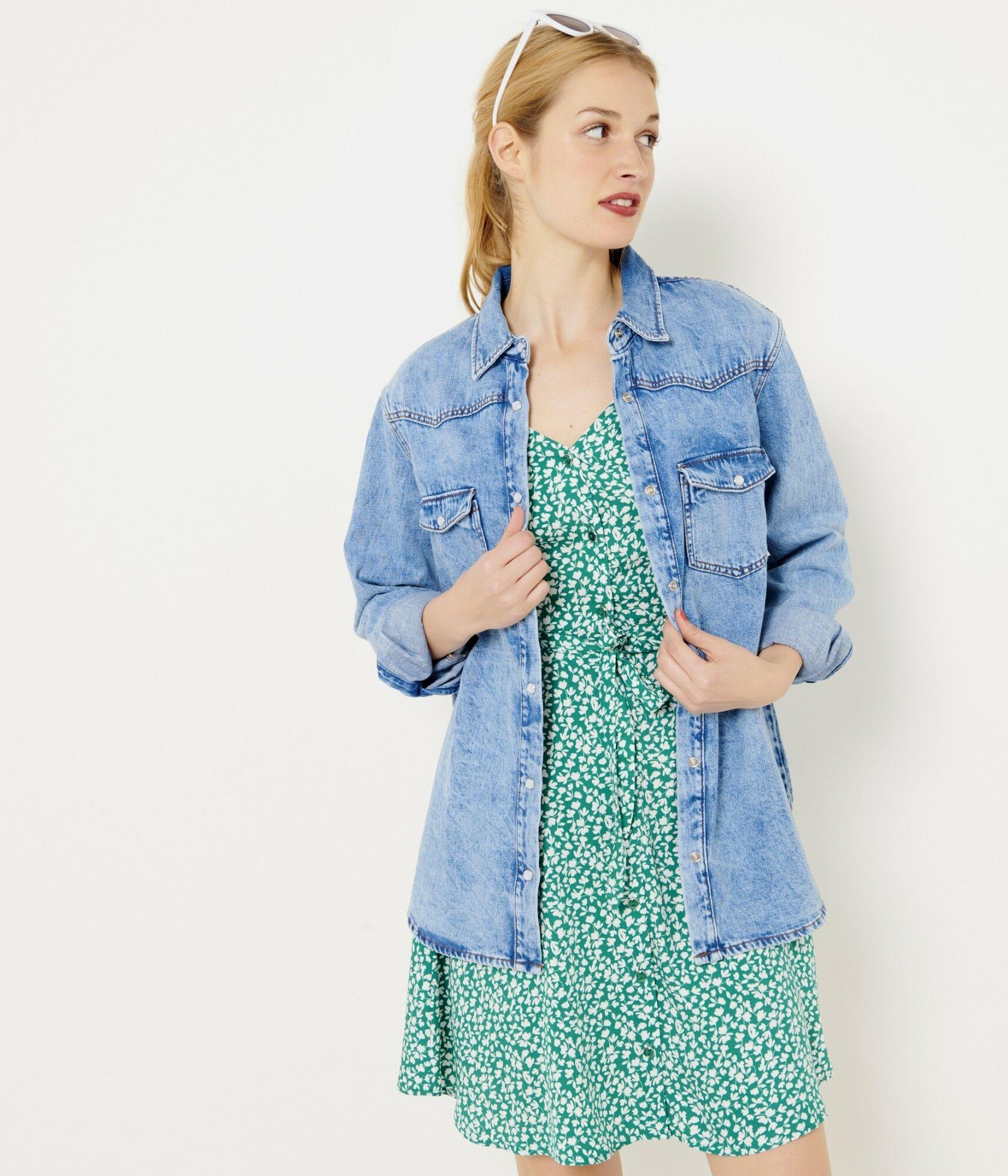 CAMAIEU Damska kurtka dżinsowa niebieski