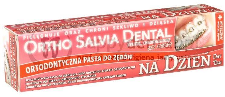 ORTHO SALVIA (Dzień) 75ml - PASTA na dzień dla osób noszących aparaty ortodontyczne (czerwona)