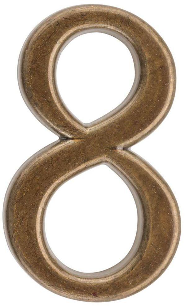 Cyfra 8 wys. 5 cm metalowa brązowa