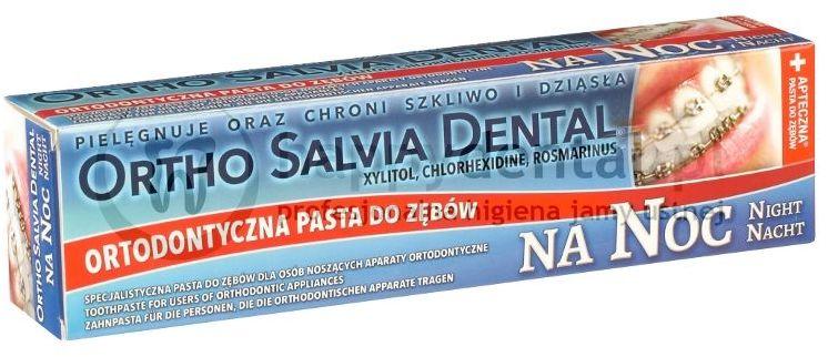 ORTHO SALVIA DENTAL Fluor (Noc) 75ml - PASTA na noc dla osób noszących aparaty ortodontyczne (niebieska)