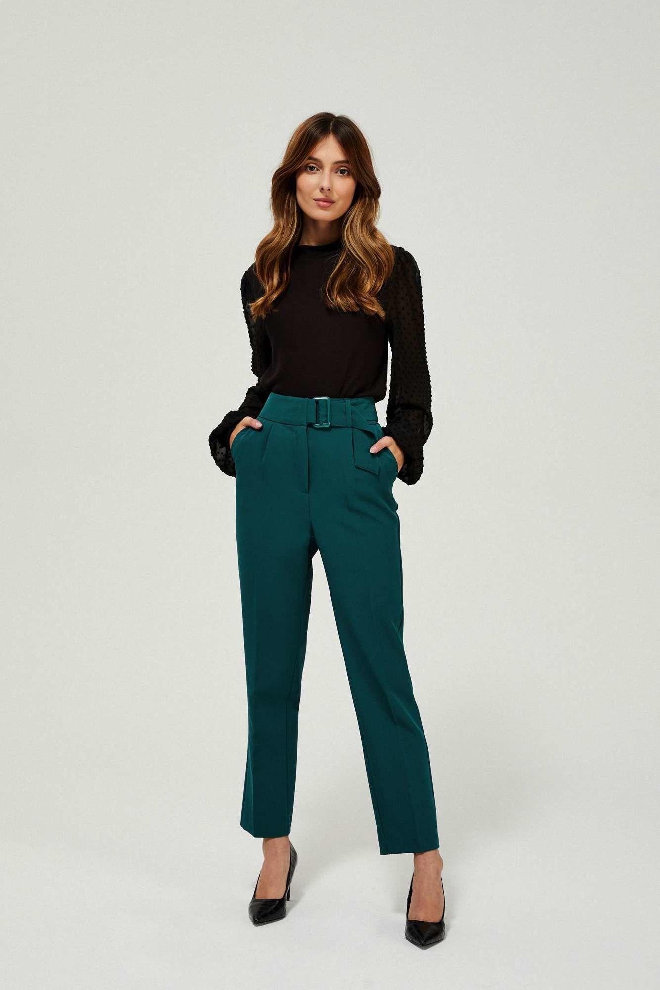 Spodnie w kant zielone z wysokim stanem