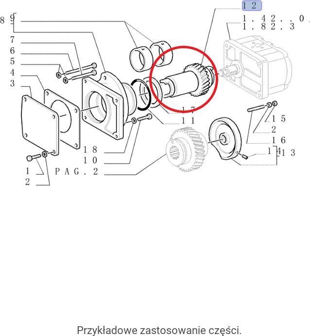 Wałek zębaty pompy hydraulicznej New Holland CNH 4724168