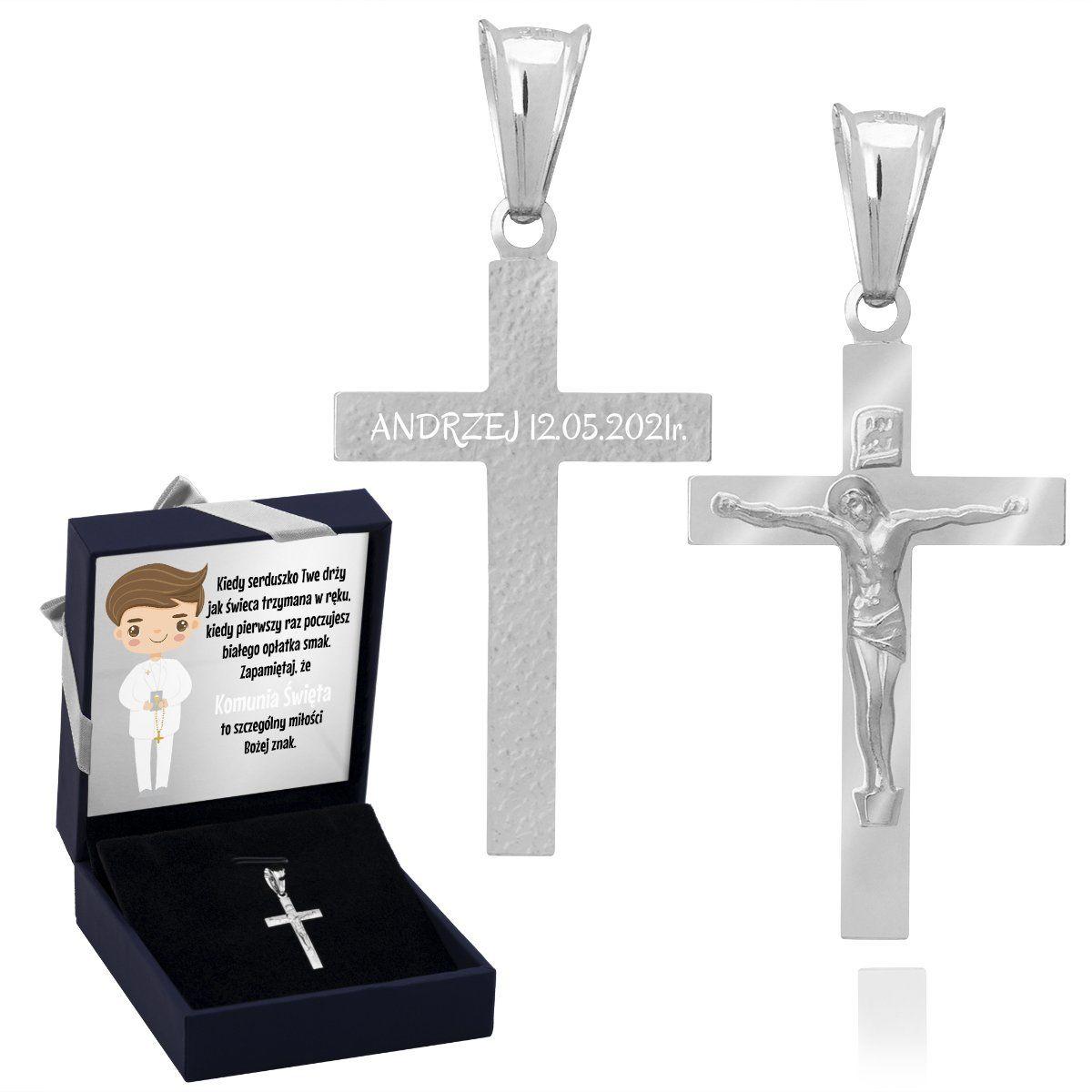 Krzyżyk srebro pr. 925 Chrzest Komunia Grawer