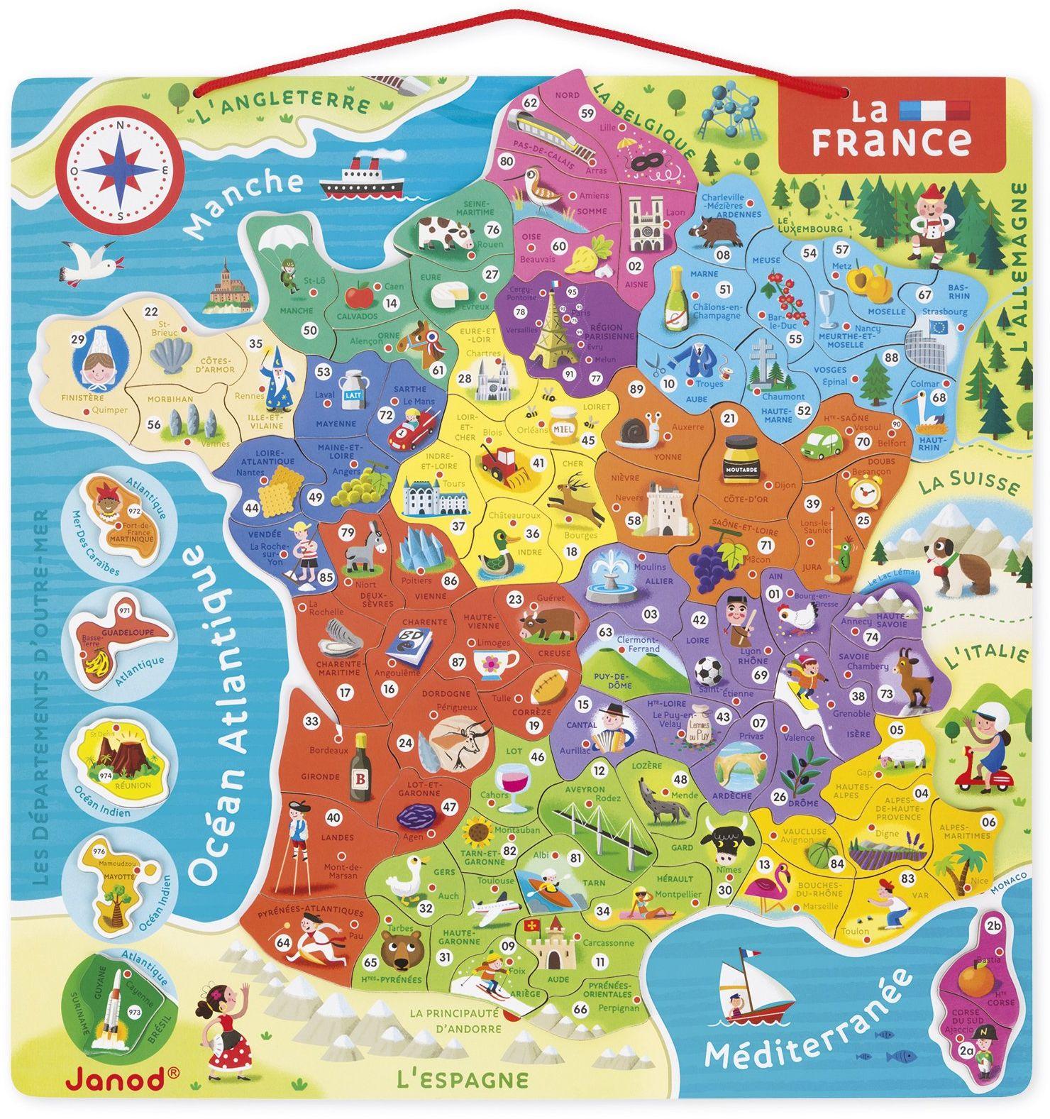 Janod - Magnetyczna mapa Francji puzzle - 93 magnesy - puzzle dla dzieci - odkrywaj i zapamiętuj - gra edukacyjna - od 7 lat, J05480
