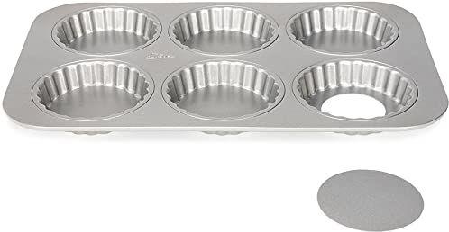 Patisse 6 mini foremek do quiche / 6 mini torteletów jako blacha do pieczenia z luźnym dnem do przygotowywania pysznych mini quiche & Tartes, Silver-Top