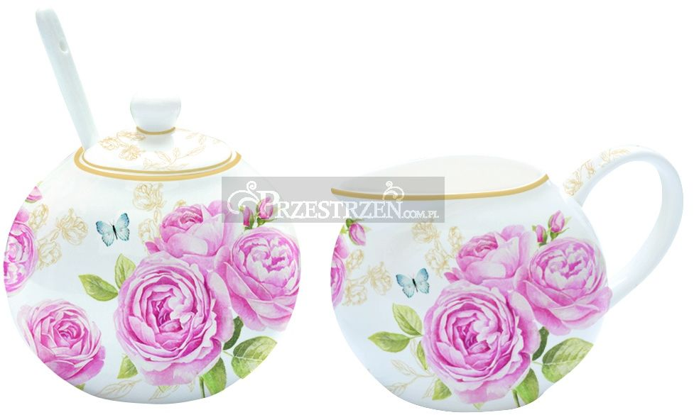 KOMPLET - PORCELANOWA CUKIERNICA I MLECZNIK - DELICATE ROSES - Róże (317 CATE)