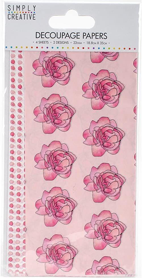 Trimcraft Simply kreatywny papier do decoupage 18,8 cm x 35 cm akwarelowe róże, akrylowy wielokolorowy, 4,23 x 8,33 x 0,1 cm