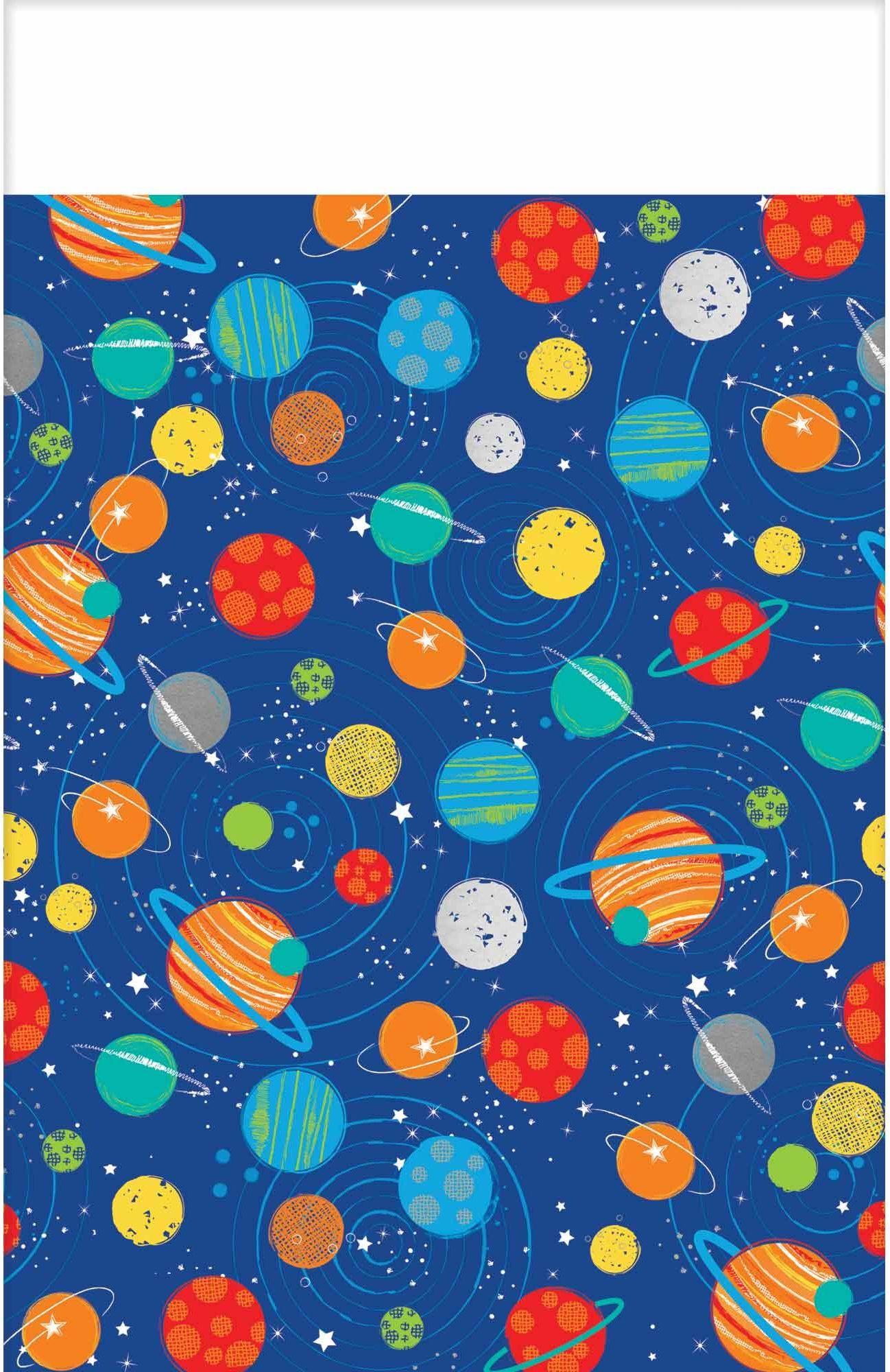 amscan 11011894 Blast 572278 plastikowy obrus o tematyce kosmicznej 1,37 m x 2,6 m, 1 szt