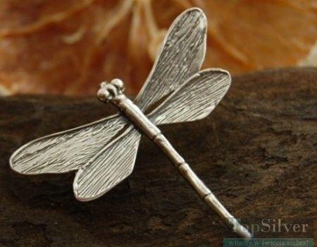 Ważka - srebrna broszka