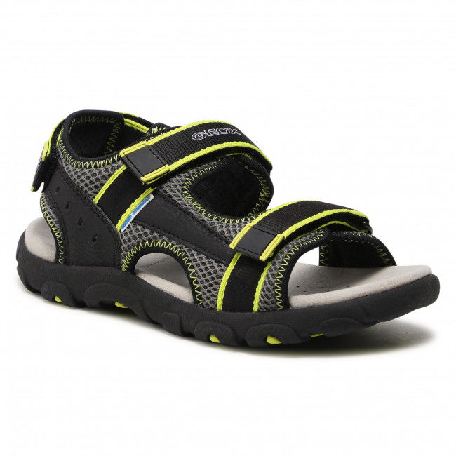 Sandały GEOX - J S.Strada A J1524A 014CE C9151 S Black/Fluo Yellow