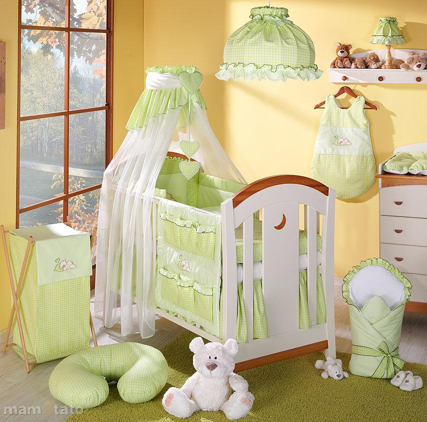 MAMO-TATO pościel 5-el Śpiący miś w zieleni do łóżeczka 70x140cm - Szyfon