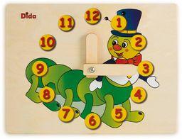 Dida - Zegarek do nauki dla dzieci - gąsienica - bawiący się zegarek, zegar do nauki dzieci z drewna do przedszkola, szkoły i domu