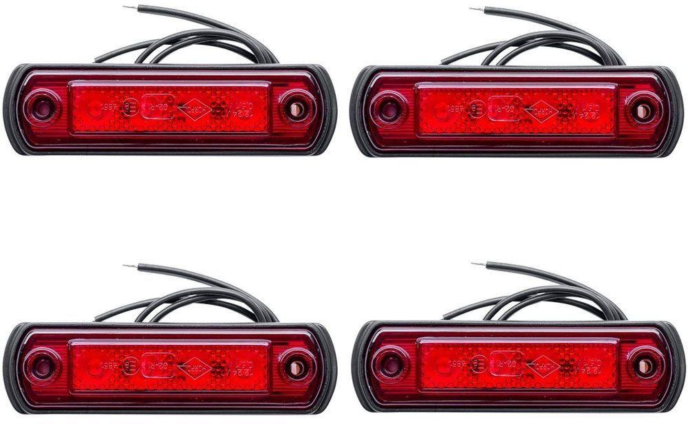 Zestaw 4x lamp obrysowych czerwonych LED na gumowej podstawie Horpol