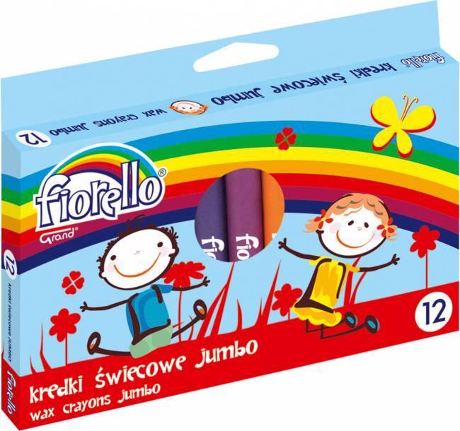 Kredki świecowe okrągłe JUMBO 12 kolorów FIORELLO - X00682