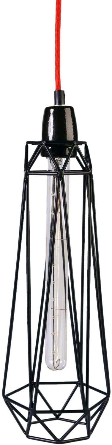 Filament Style Filament 015P francuska lampa Loft Diamond #2 z kablem tekstylnym w kolorze czerwonym metal E27, 43 x 12 cm, czarna