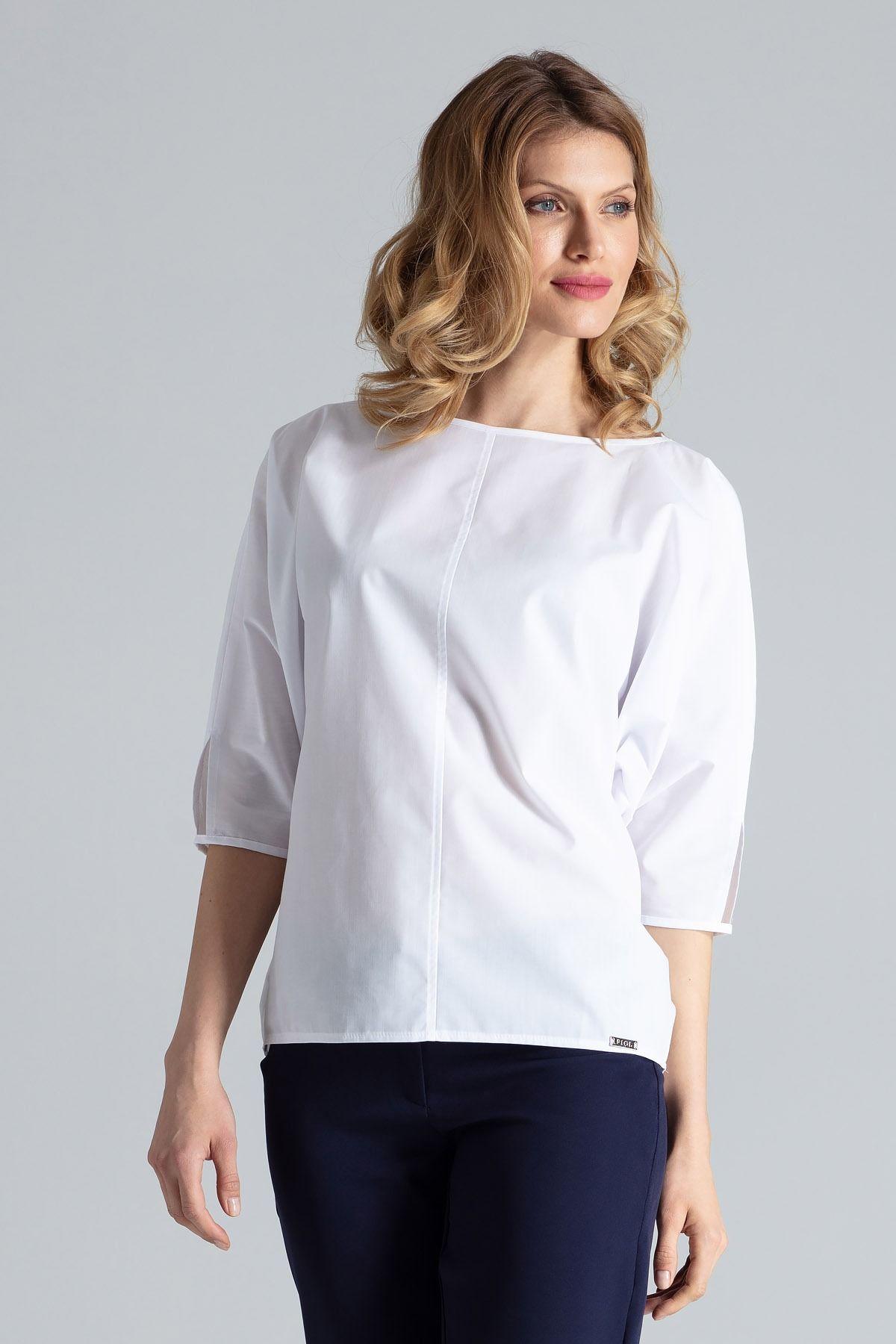 Biała bluzka z rozcięciem na rękawach