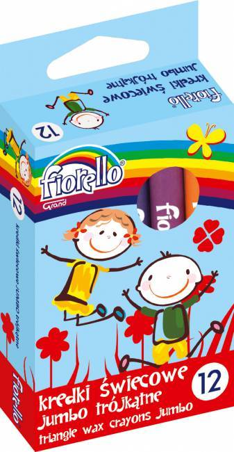 Kredki świecowe trójkątne JUMBO 12 kolorów FIORELLO - X00683