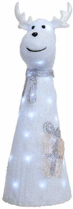 Lumineo 72241 figurka renifera akryl z szalikiem, wielokolorowa