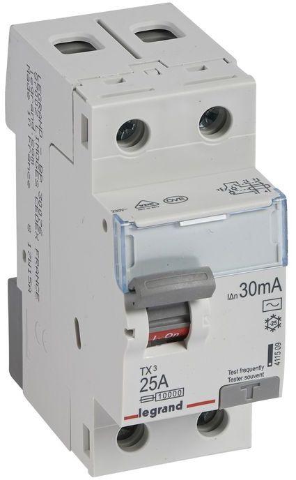 Wyłącznik różnicowoprądowy 2P 25A 0,03A typ AC P302 TX3 411509