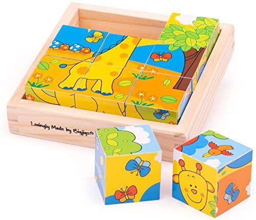 Bigjigs Toys Puzzle drewniane Safari Cube