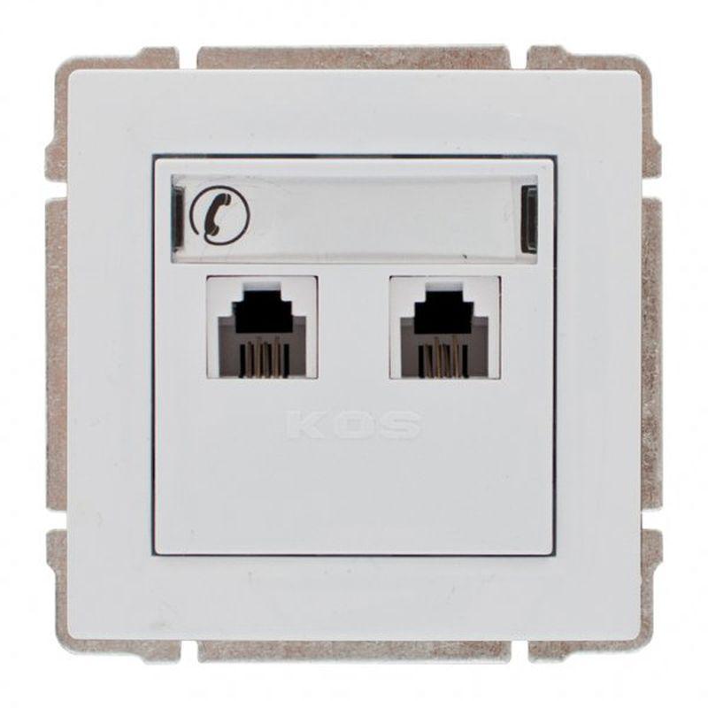 KOS66 Gniazdo telefoniczne podwójne 2xRJ11 białe 660464