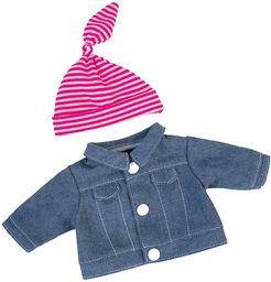 Bayer Design 83054AA odzież, akcesoria dla malucha dżinsowa kurtka z czapką dla lalek, 30 cm