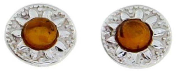 Srebrne kolczyki 925 z naturalnym bursztynem 1,86g