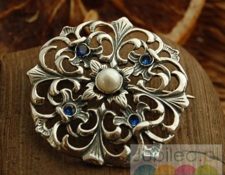 Luiza - srebrna rozeta perła i szafiry