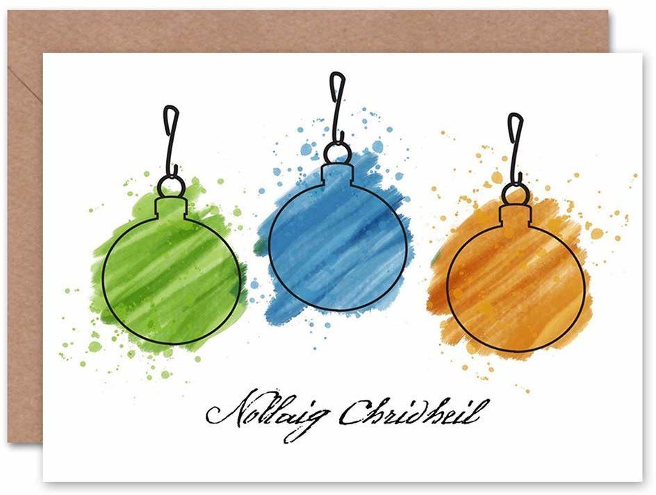 Wee Blue Coo NOLLAIG CHRIDHEIL SCEITSE BAUBLES galaktyczna kartka świąteczna